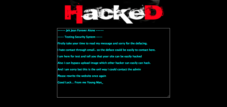 Hacked message