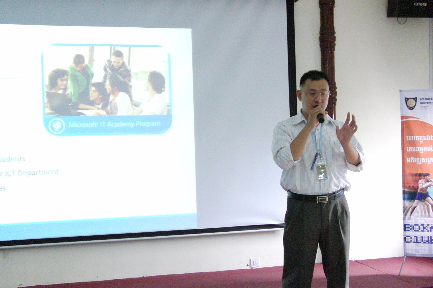 "Mr. Ham Sokly, Present about ""The Training Benefit from Microsoft IT Academy"""