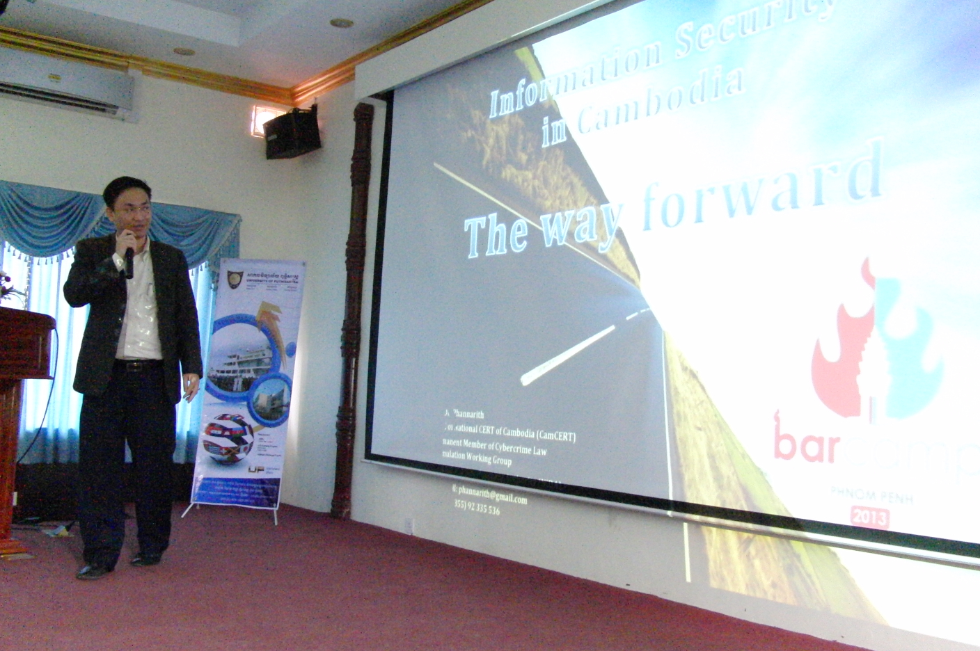 """Mr. OU Phannarith, Present about """"Information Security in Cambodia - The Way Forward"""""""