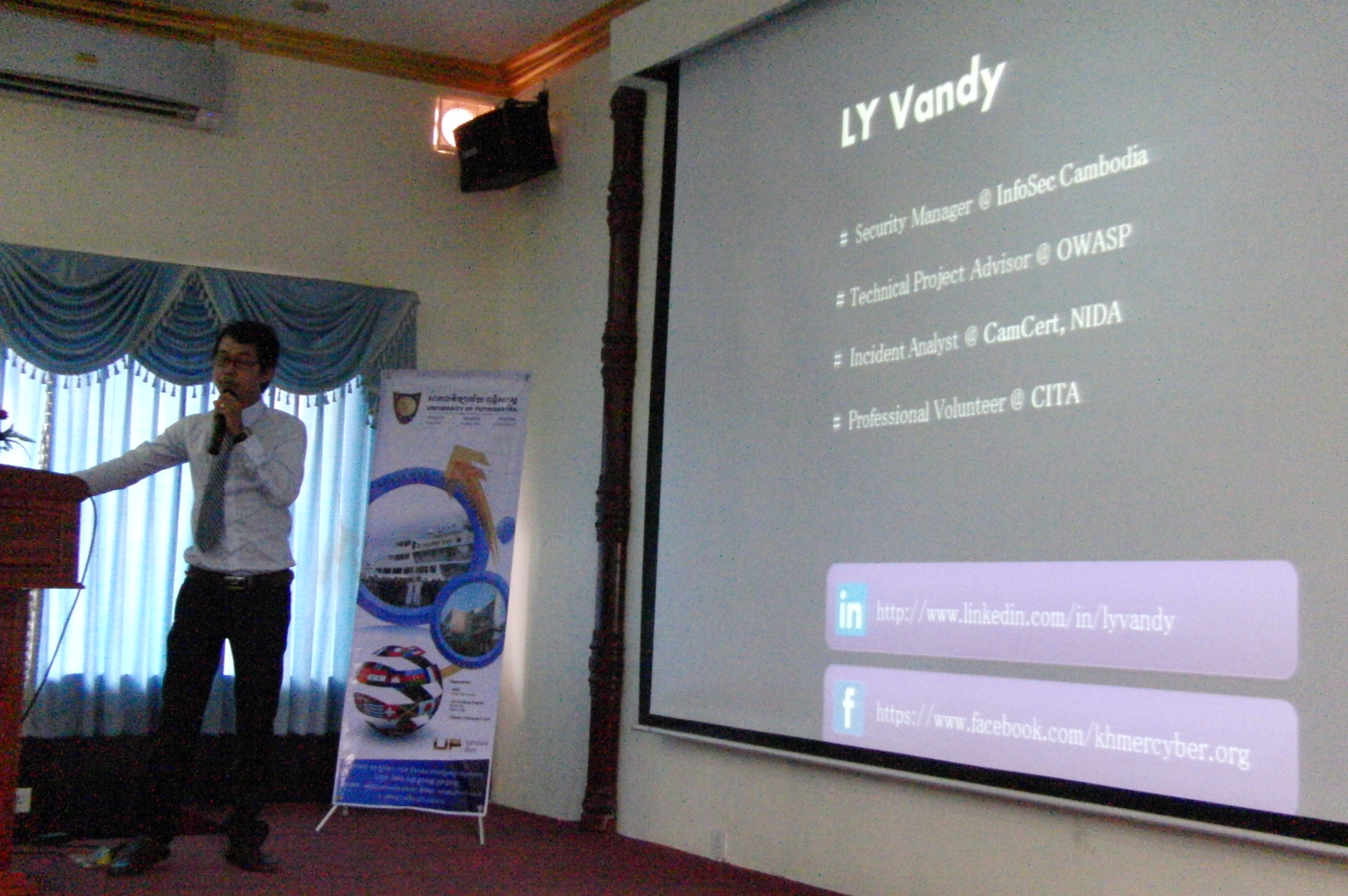 "Mr. Ly Vandy, Present about ""Website Security - SQL Injection Technique"""