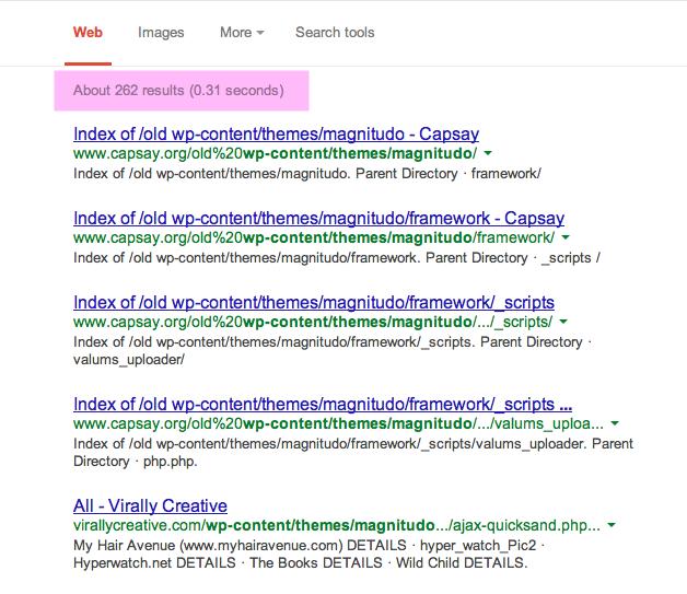 ការបង្ហាញលទ្ធផលរបស់ Google ពេលរកនូវវិបសាយដែលប្រើប្រាស់ Theme មួយនេះ