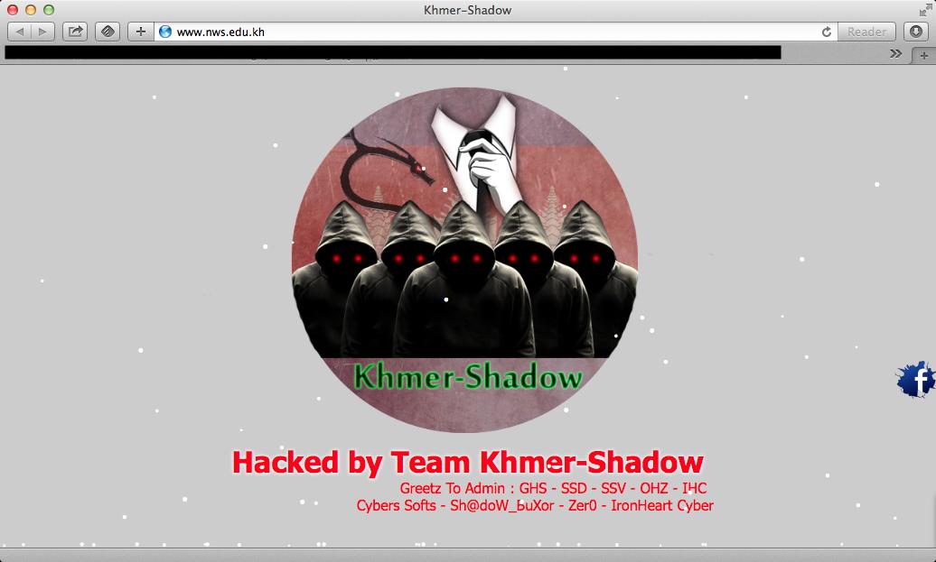 គម្រូនៃវិបសាយដែលត្រូវបាន Deface ដោយក្រុម Khmer Shadow