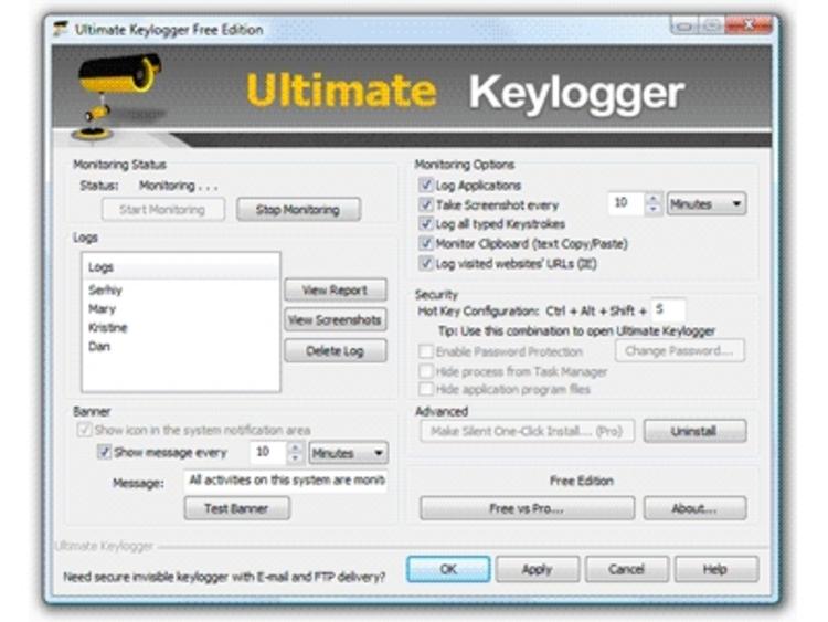 កម្មវិធីប្រភេទជា Keylogger