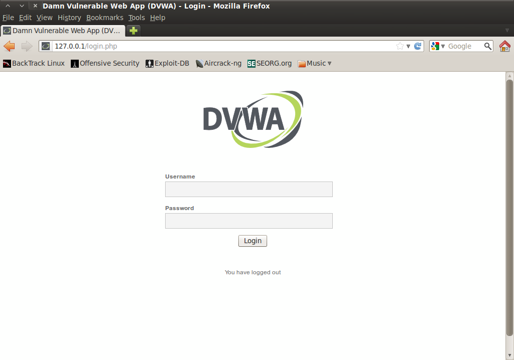 Screenshot-Damn Vulnerable Web App (DVWA) - Login - Mozilla Firefox