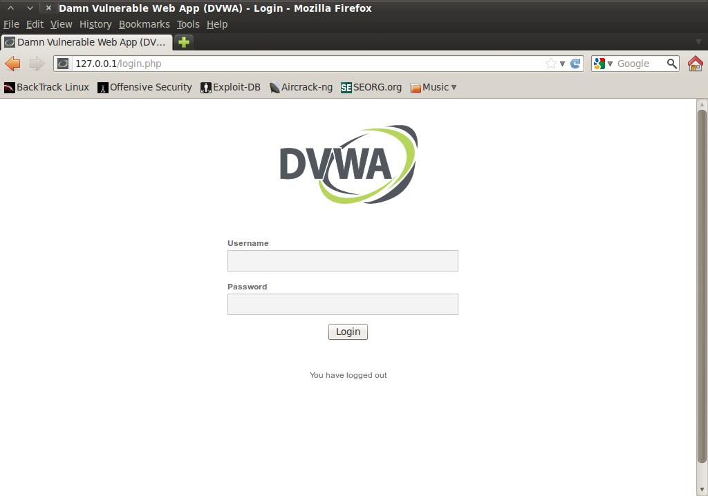 Screenshot-Damn Vulnerable Web App (DVWA) - Login - Mozilla Firefox