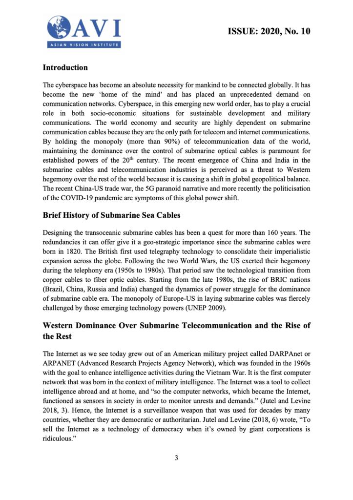 AVI Submarine Cable Geopolitics
